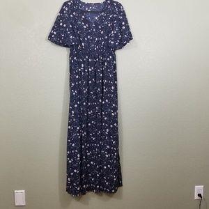 Dear Case Mix Blue Floral Maxi Dress w/ Pockets